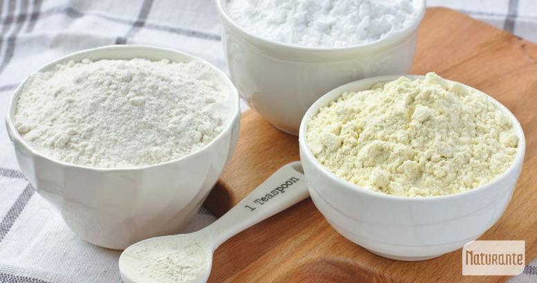 Harinas sin gluten: harina de arroz, harina de mijo y fécula de papa